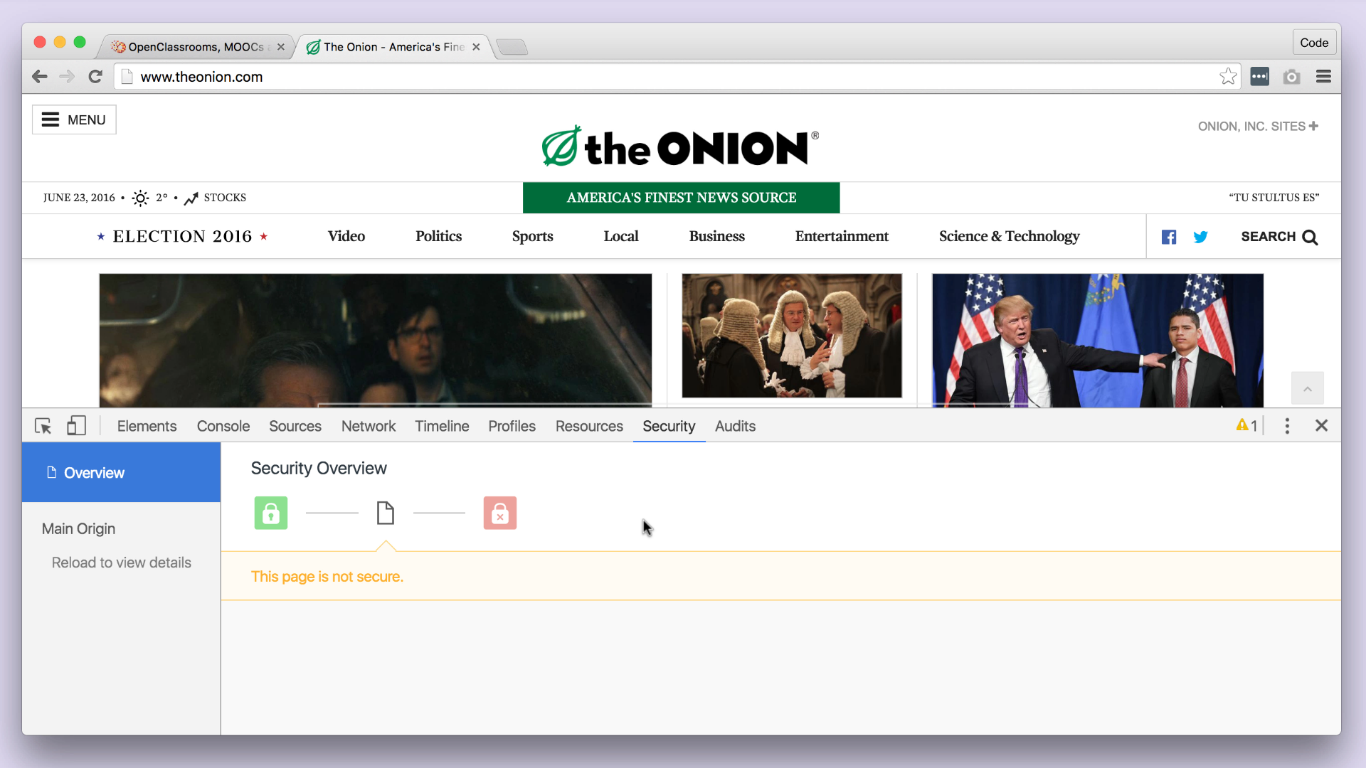 The Onion isn't secure but may not need to be