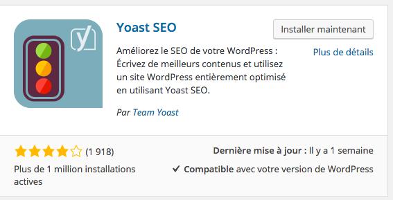 L'extension Yoast SEO est très populaire