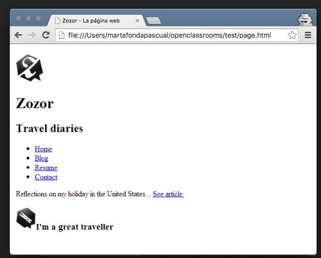 El aspecto de una página web al escribirla solo en HTML