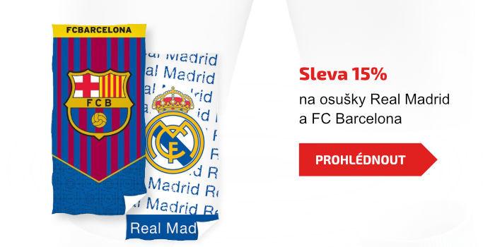 Sleva 15% na osušky Real Madrid a FC Barcelona