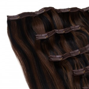 Mocha Blend Clip In 5 Pieces Remy Hair 55cm