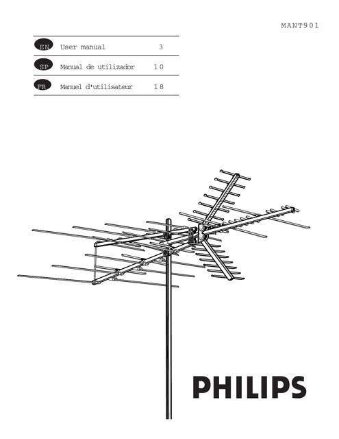 Philips TV antenna SDV9011K HDTV UHF VHF FM Outdoor - User manual