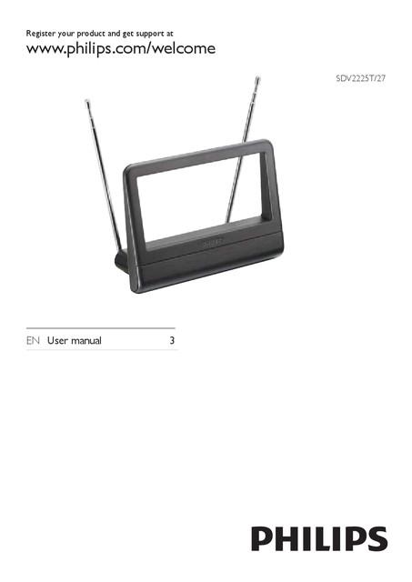 Philips Digital TV antenna SDV2225T Indoor Passive HDTV UHF VHF - User manual
