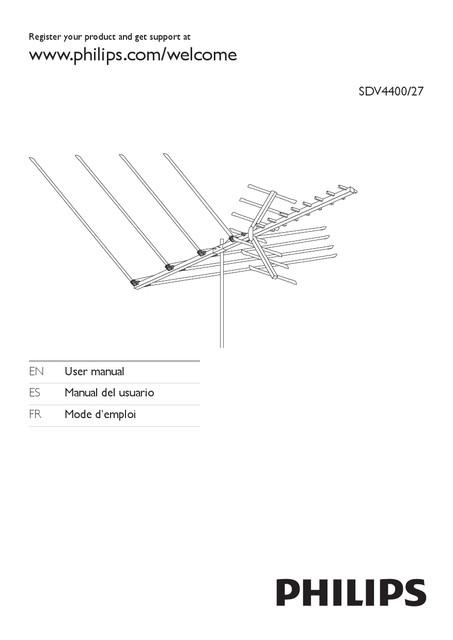 Philips TV antenna SDV4400 HDTV UHF VHF FM Outdoor - User manual