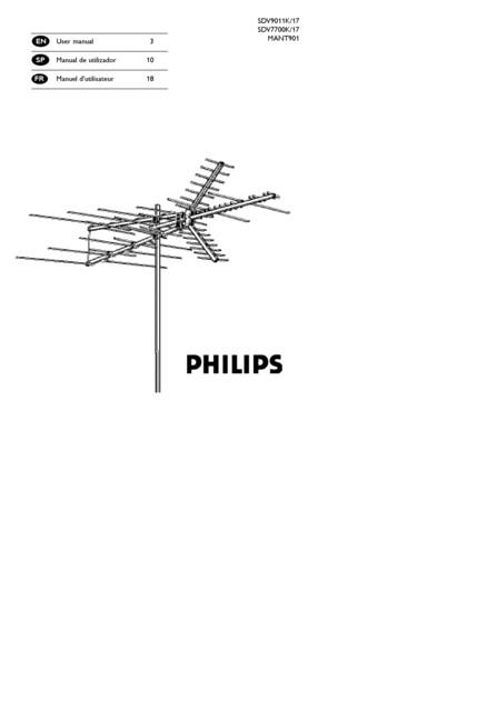 Philips TV antenna SDV7700K UHF VHF FM HDTV Outdoor - User manual