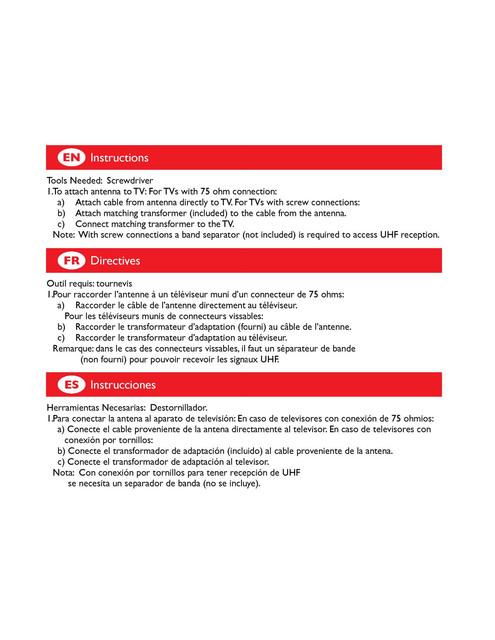 Philips TV antenna SDV2270 VHF UHF FM HDTV digital Indoor - User manual