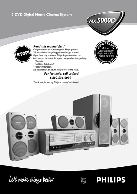 Philips Home Cinema Receiver Package - User manual