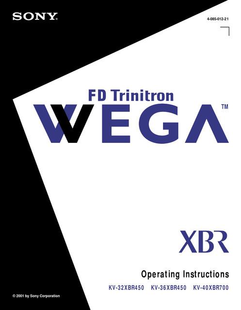 Sony KV-40XBR700 - Primary User Manual