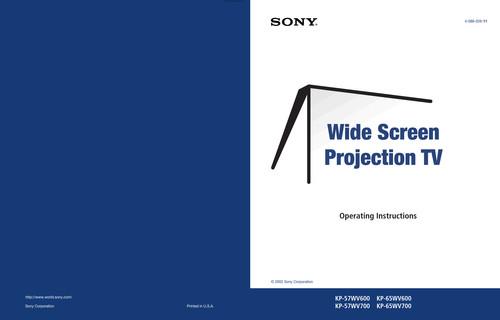 Sony KP-65WV600 - Primary User Manual