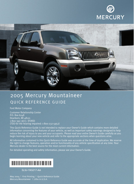 Mercury Mountaineer 2005 - Quick Reference Guide Printing 1 (pdf)