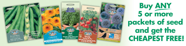 Buy ANY 5 or more packets of seed and get the CHEAPEST FREE!
