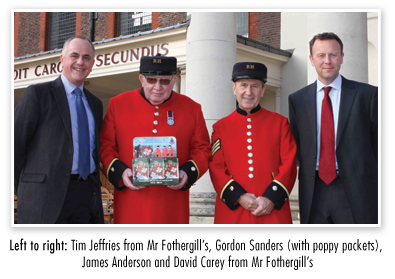 Left to right: Tim Jeffries from Mr Fothergill's, Gordon Sanders (with poppy packets), James Anderson and David Carey from Mr Fothergill's