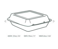 8x8 White Vegware Bagasse Hinged Container Qty200