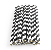 200mm x 6mm Black & White Paper Straws Qty 250 | Select Catering Solutions Ltd