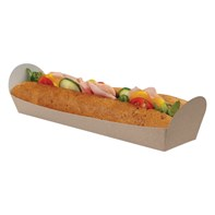 Open Kraft Baguette Tray 264/254x70/60x62/30mm | Select Catering Solutions Ltd