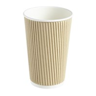 16oz Double Wall Kraft Barrier Ripple Hot Drinks Cup