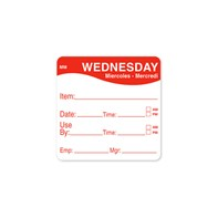 2 x 2 Red Wednesday Prep Label | Select Catering Solutions Ltd