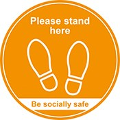 Please Stand Here Sign 400mm Amber | Select Catering Solutions Ltd