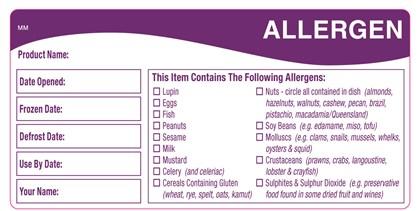Allergen Storage Label Qty500
