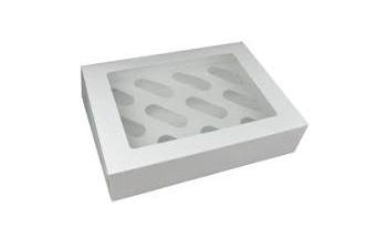 White 12 Cupcake Box with Inserts Qty100
