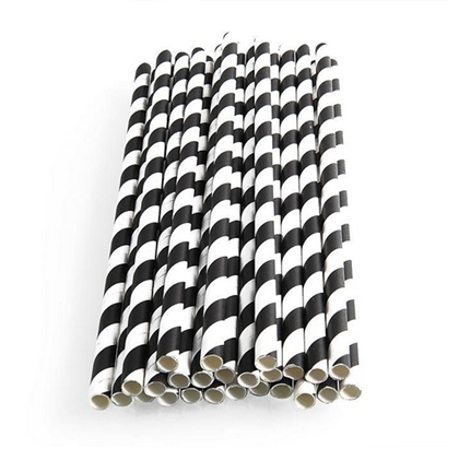 200mm x 6mm Black & White Paper Straws Qty 250