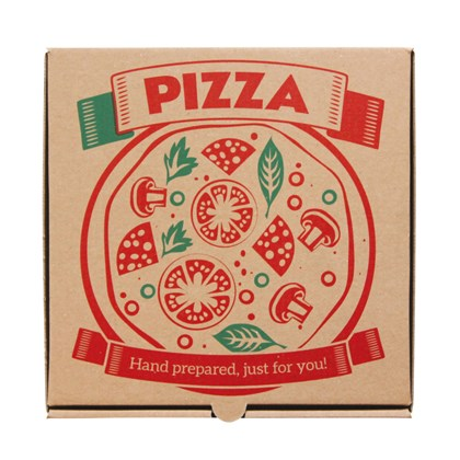 "10"" Printed Brown Pizza Box"