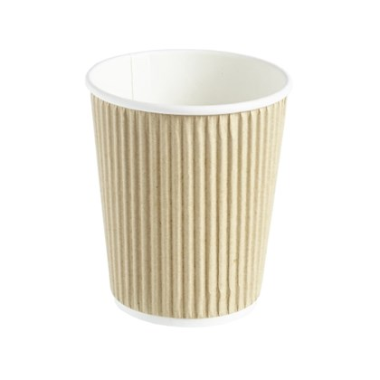 8oz Double Wall Kraft Barrier Ripple Cup