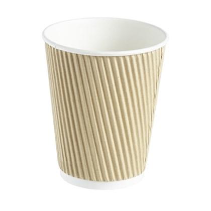 12oz Double Wall Kraft Barrier Ripple Cups