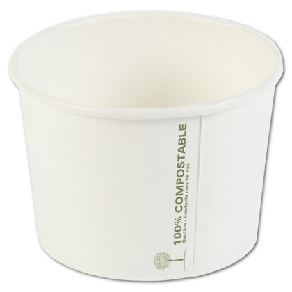8oz Compostable White Soup Containers