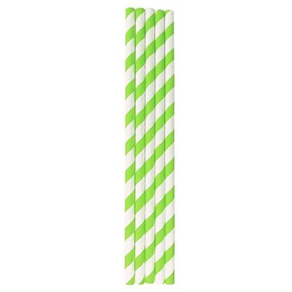 Paper Smoothie Straws Eco Green Striped 200 x 8mm Qty250