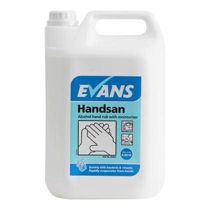 Handsan 2x5Litre 70% Alcohol Hand Rub Sanitiser with Moisturiser