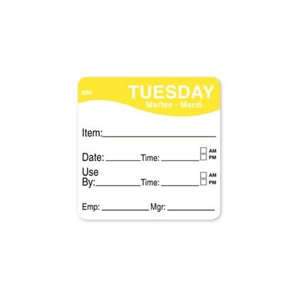 2 x 2 Yellow Tuesday Prep Label