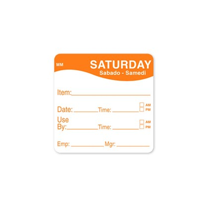 "2 x 2"" Orange Wednesday Label Dissolvable Qty 250"