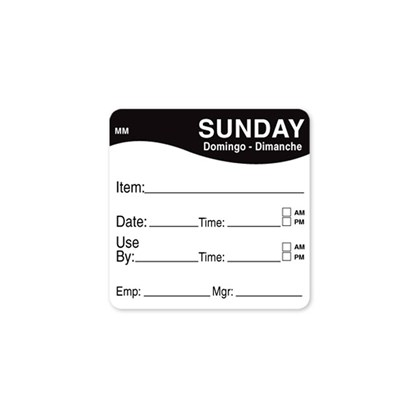 2 x 2 Black Sunday Prep Label