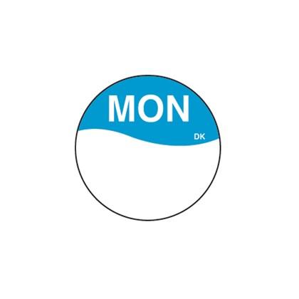 Round Blue Monday Label