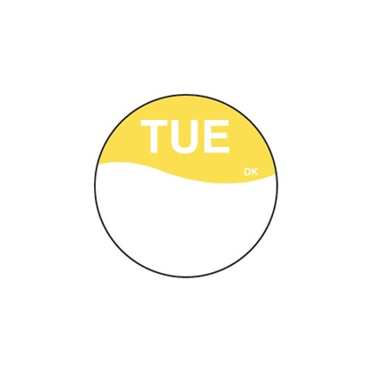 Round Yellow Tuesday Label