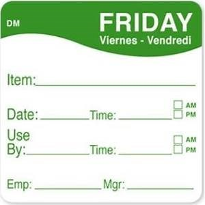 """Friday Use by 2x2"""" Dissolve-A-Way label"""