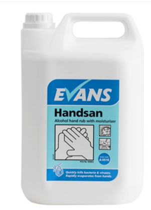 Handsan 5Litre 70% Alcohol Hand Rub Sanitiser with Moisturiser