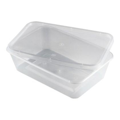 500ml Clear Rect Container & Lid