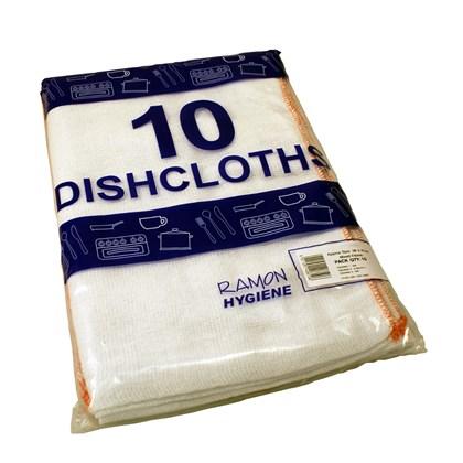 Large Dishcloths White 38cm x 46cm Qty 10
