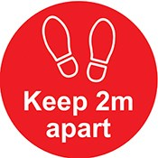 Keep 2m Apart label 200mm Dia Red