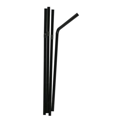 Black Flexi Straws 200x6mm