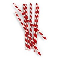 200mm Red & White Paper Straw 6mm Qty 250