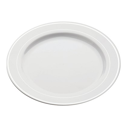 Mozaik White Silver Rim Plate 15cm