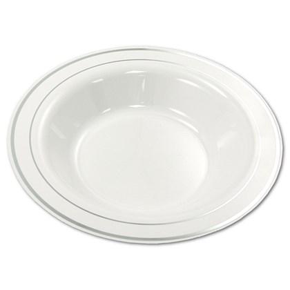 Mozaik White Silver Rim 23cm Deep Plate/ Bowl