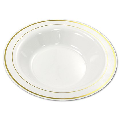 23cm Mozaik White Gold Rim Deep Plate / Bowl