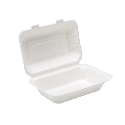 """9 x 6 x 3"""" Bagasse Hinged Box"""