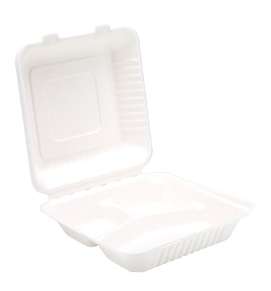 """9"""" Bagasse 3 Compartment Meal Box"""