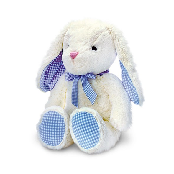 Cream Bunny with Blue Gingham