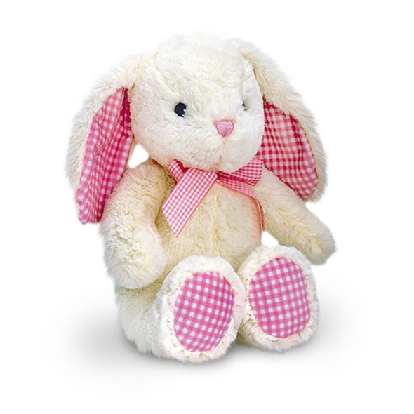 Cream Bunny with Pink Gingham